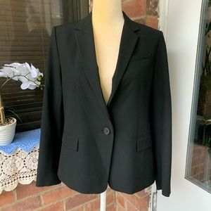 Ann Taylor Black Suit Blazer 8P 1 Button Petite